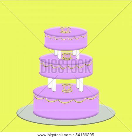 Pink 3 Tier Wedding Cake