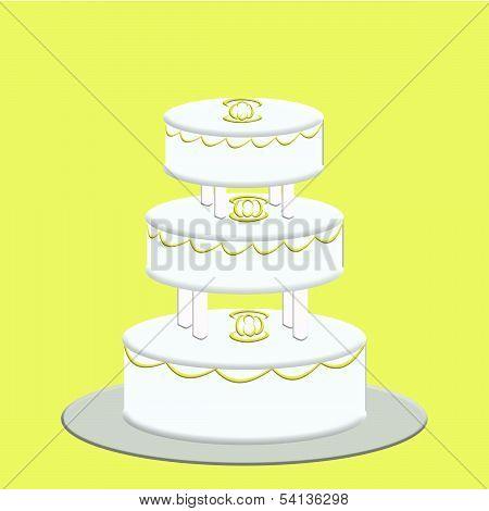 White 3 Tier Wedding Cake