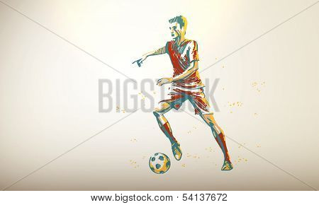 Vector Illustration of a Football, Soccer Player | Decent Copy Space