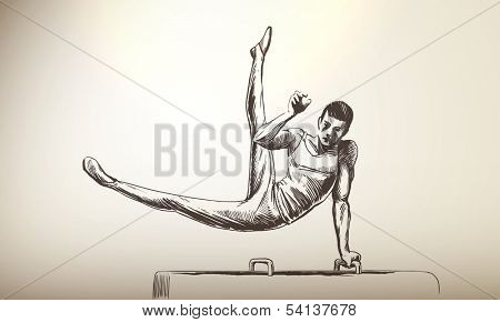 Vector Illustration of Gymnastics Sportsman | Pommel Horse