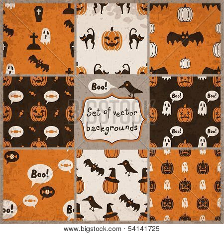 Set of Halloween Seamless Patterns