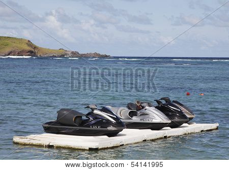 Jet ski at Grand Cul de Sac Bay at St. Barts