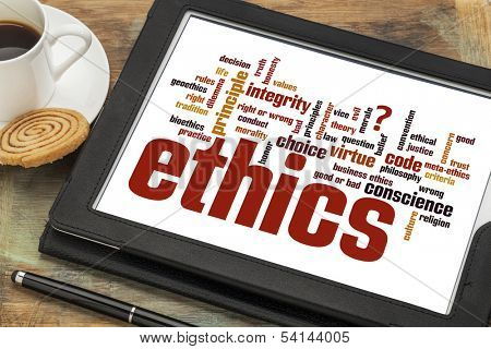 cloud of words or tags related to ethics and moral dilemma on a  digital tablet