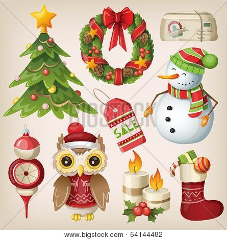 Set of christmas items and characters