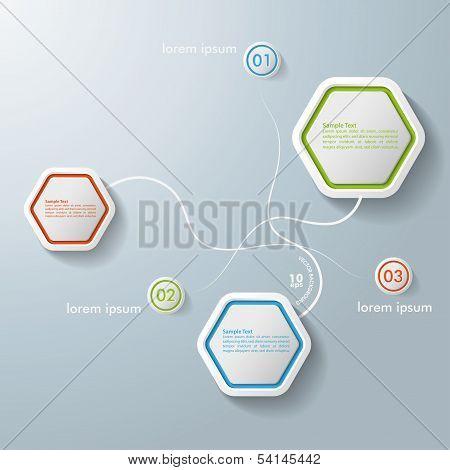 Infographic Design Swirls Hexagons 3 Options