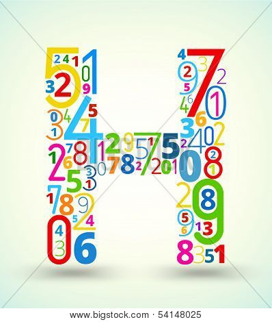 Letter H, colored vector font from numbers