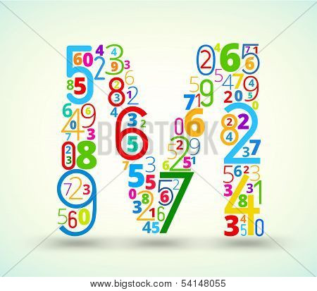 Letter M, colored vector font from numbers