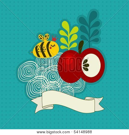 Bee and apple.