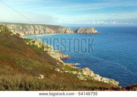 English coast in autumn at Porthchapel Cornwall England near the Minack Theatre and Porthcurno