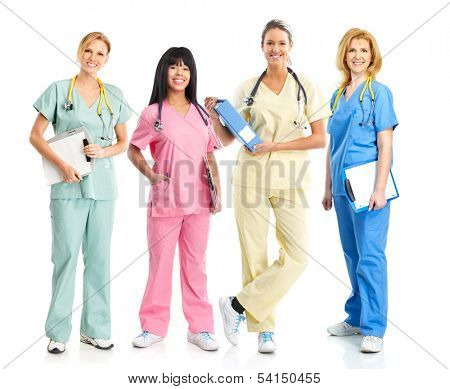 Medical nurse woman Standing Isolated on white background.