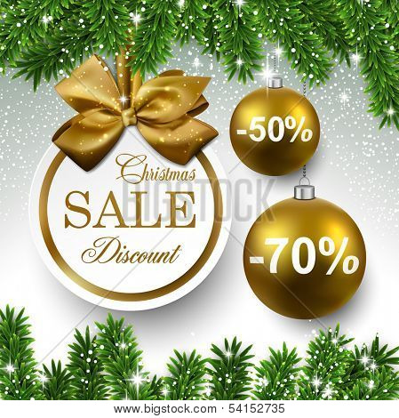 Sale golden round labels. Christmas balls over starry background with fir branches. Vector illustration.