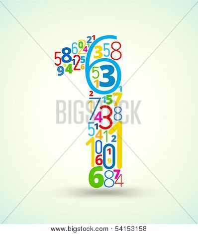 Number 1, colored vector font from numbers