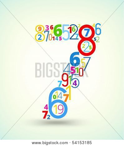 Number 7, colored vector font from numbers