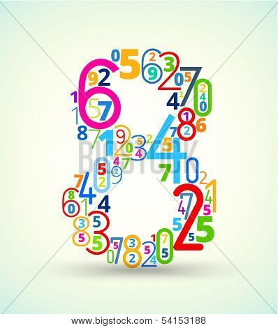 Number 8, colored vector font from numbers