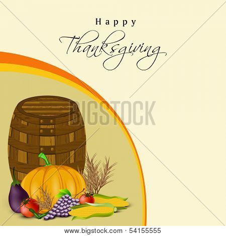Happy Thanksgiving Day concept with wooden basket,fruits and vegetables on abstract background, can be use as flyer,banner or poster