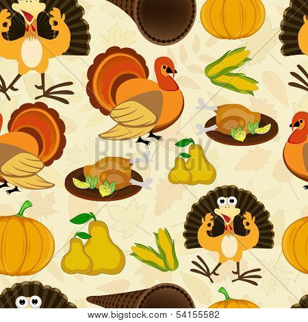 Seamless Happy Thanksgiving Day background with turkey bird, fruits and vegetables.