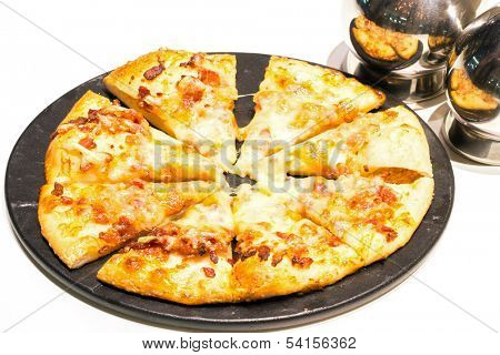 French Pizza with bacon and cheese