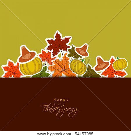 Vintage Happy Thanksgiving Day concept with Pilgrim hat, pumpkins, and maple leaves on green and brown background.