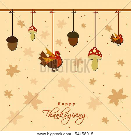 Happy Thanksgiving Day celebration concept with hanging mushroom, and turkey bird on seamless autumn leaves background.