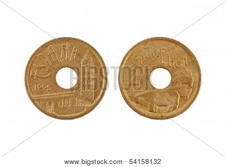 25 Pesetas Coin Isolated On White Background