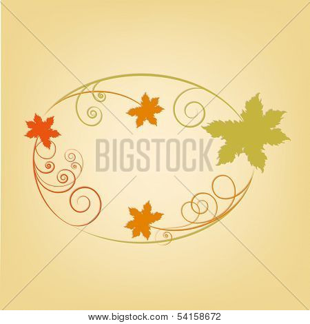 Happy Thanksgiving Day concept with floral, autumn leaves decorated frame and space for your text on abstract background.