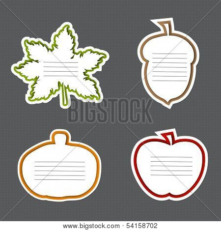 Happy Thanksgiving Day gifts card in fruits and maple leave shape with text space for your wish on grey background, can be use as sticker, tag or label.