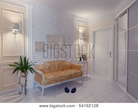 modern apartment hall interior (3D rendering)