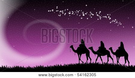 Magi Following The Star Of Bethlehem