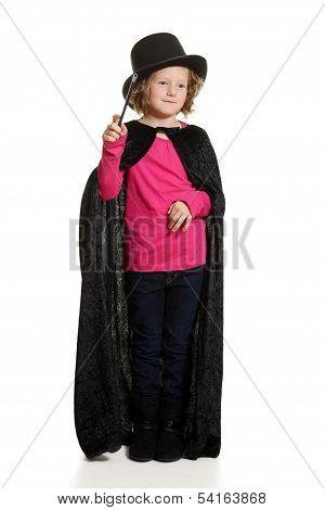 little girl magician doing magic