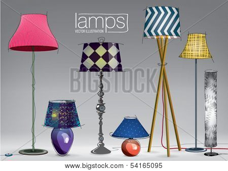 Set of decorative color lamps. Vector illustration