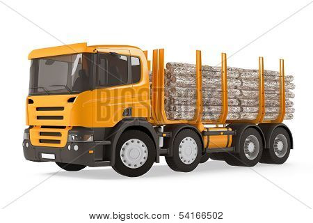 Heavy loaded logging timber truck