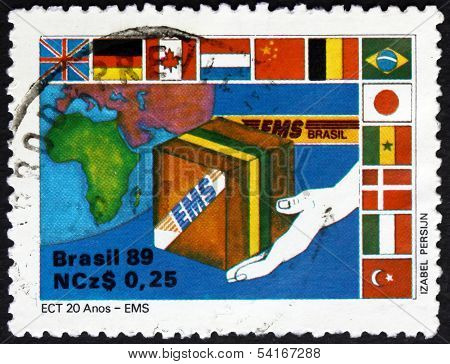 Postage Stamp Brazil 1989 Express Mail, Ems