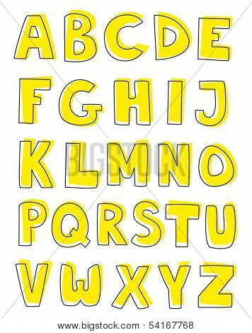 Alphabet vector letters hand drawn set isolated on white background.