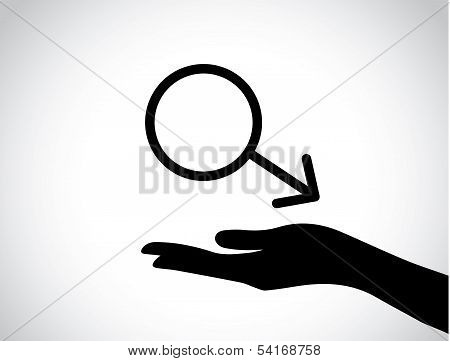 Hand Silhouette Protecting A Male Symbol - Male Health Services Icon Or Symbol Concept Design Vector