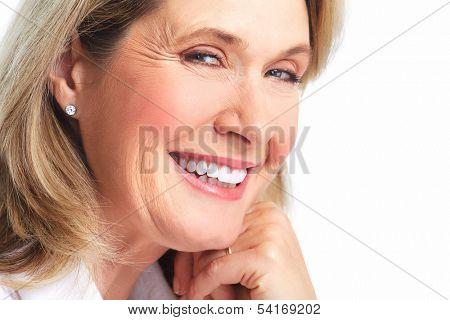 Beautiful elderly lady closeup isolated white background.