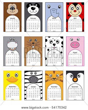 Animals calendar 2014