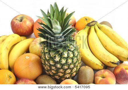 Fresh Fruits On White Background.