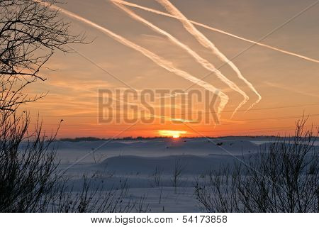 Sunset In Cold Winter Day