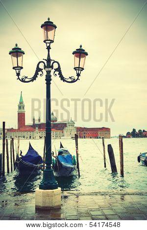 Quay in Venice, Italy. Retro style.