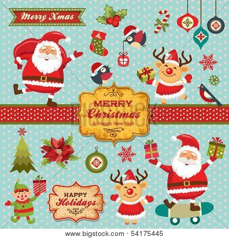 Christmas characters, labels, icons elements collection