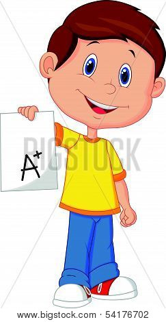 Boy cartoon showing A plus grade