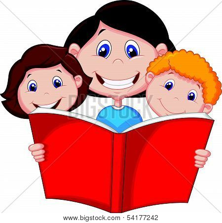 Cartoon Mother reading book to her children