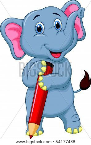 Cute elephant cartoon holding red pencil