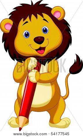 Cute lion cartoon holding red pencil