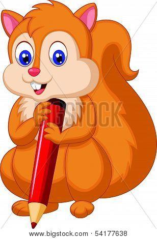 Cute squirrel cartoon holding pencil