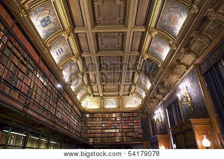 Chateau de Chantilly, France, the library