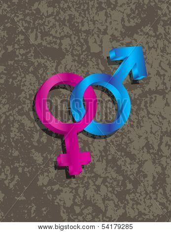 Male Female Gender 3D Symbols Interlocking Illustration