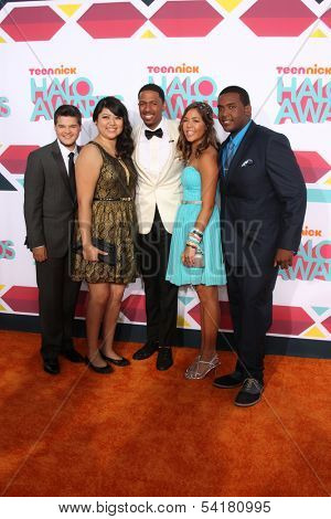 LOS ANGELES - NOV 17:  Zachary Kerr, Rocio Ortega, Nick Cannon, Miranda Fuentes, Denzel Thompson at the TeenNick Halo Awards at Hollywood Palladium on November 17, 2013 in Los Angeles, CA