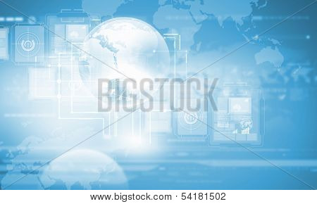Background media image with icons. Innovations in technologies