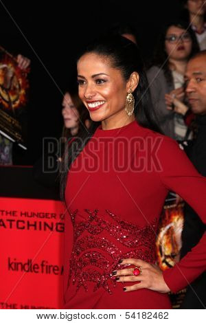 LOS ANGELES - NOV 18:  Meta Golding at the The Hunger Games:  Catching Fire Premiere at Nokia Theater on November 18, 2013 in Los Angeles, CA
